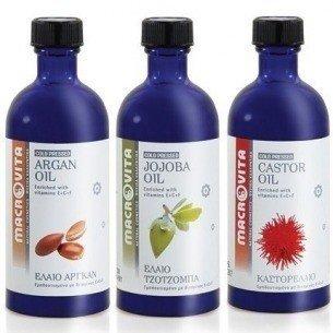 MACROVITA SET: ARGAN Oil 100ml + JOJOBA Oil 100ml + CASTOR Oil 100ml in natural oils with vitamin E