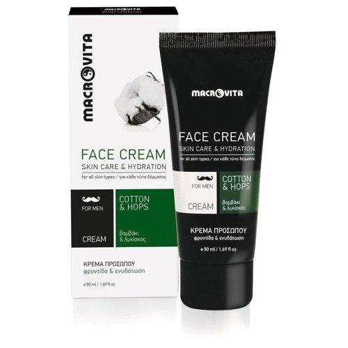 MACROVITA Feuchtigkeitsspendende Gesichtscreme für Männer mit Baumwolle und Hopfen 50ml